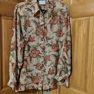 Women's Alfred Dunner 16W Floral Sheer LS Blouse